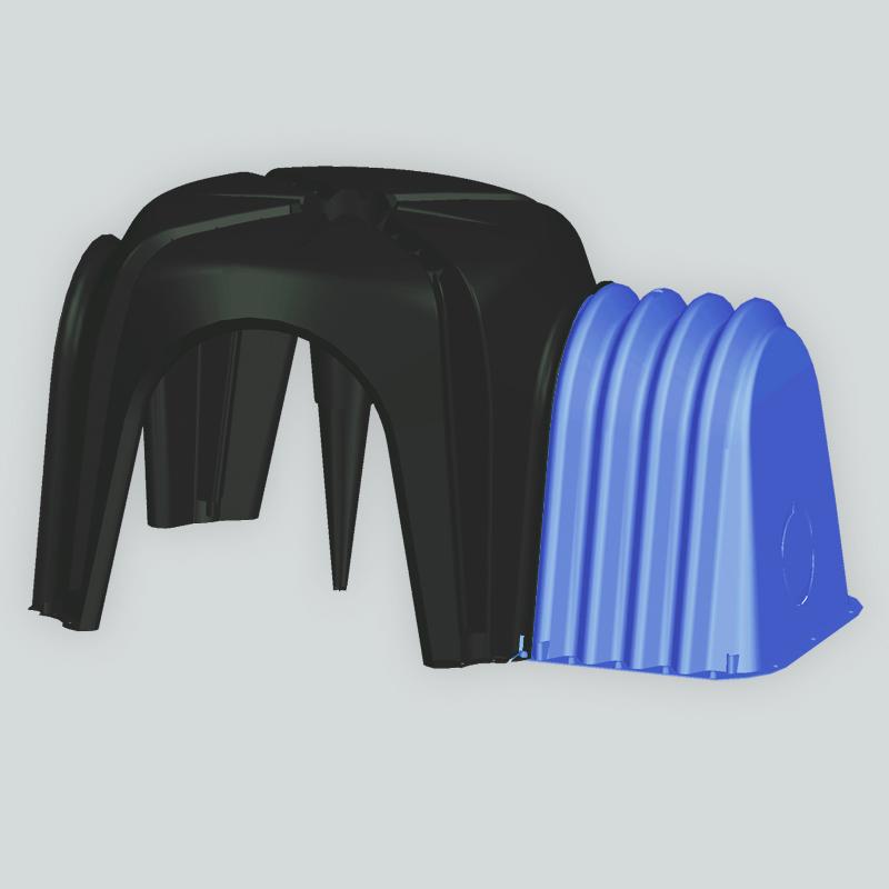 Vespaio areato Cupolex: render cupola e compensatore laterale